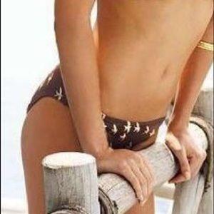 NWT Victoria Secret Brown/Gold Bird Bikini Bottom
